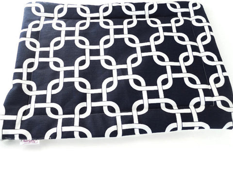 Navy and White Geometric Crate Mat - Charlotte's Pet