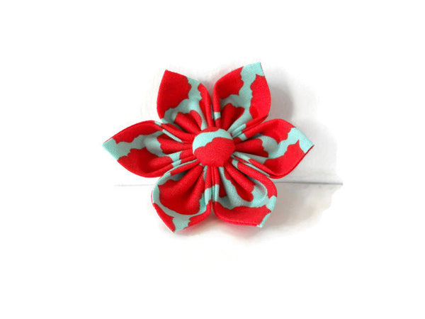 Red and Teal Quatrefoil Bow Tie/Flower - Charlotte's Pet