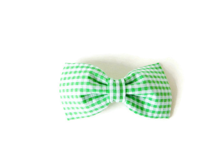 Green Seesucker Bow Tie/Flower - Charlotte's Pet