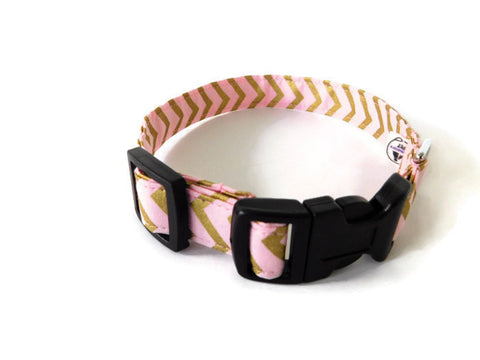 Pink and Gold Chevron Collar - Charlotte's Pet