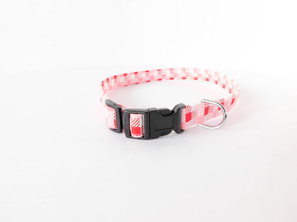 Red and Pink Checker Collar - Charlotte's Pet