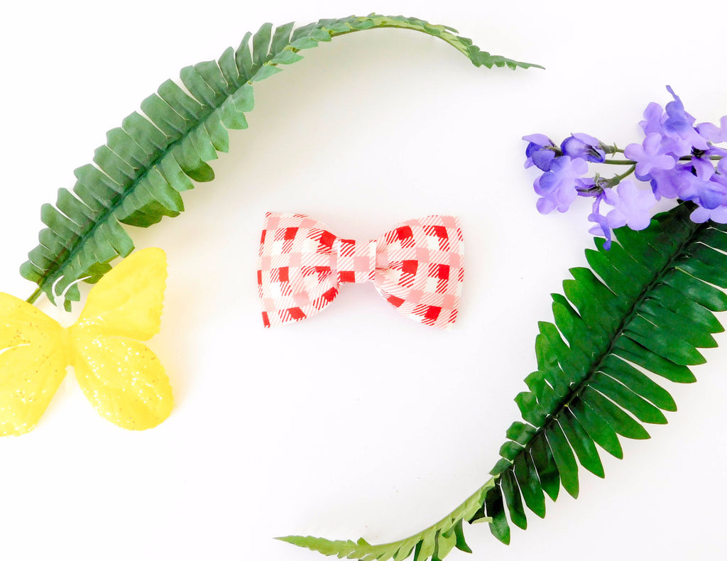 Pink and Red Checker Bow Tie/Flower - Charlotte's Pet