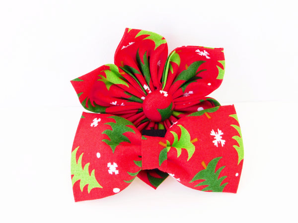 Red Christmas Tree Flower/ Bow Tie - Charlotte's Pet
