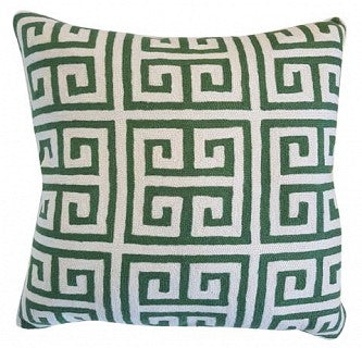 Cushion Greek Key Green / White