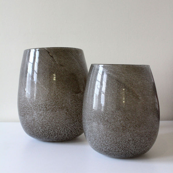 Lava Bubble Glass Taupe Vases