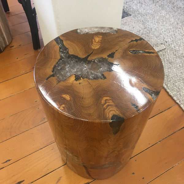 Mahogany and Resin Stool