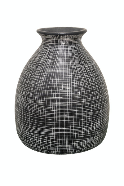 Net Patterned Vase Black