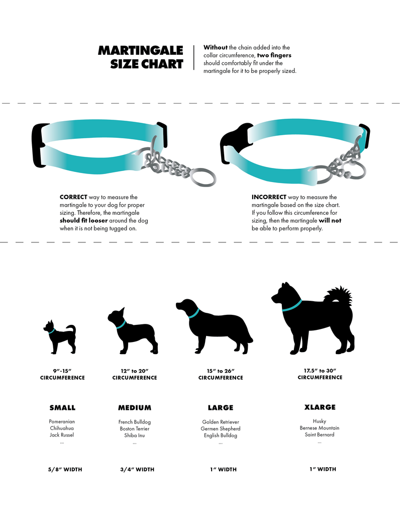 Dog Martingale Size Chart