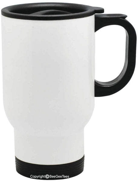 Customizable Travel Mug 14 oz Stainless Steel - White