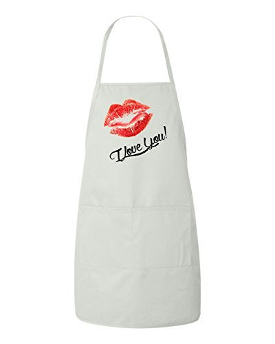 I Love You Lips Valentines Day Gift Apron by BeeGeeTees