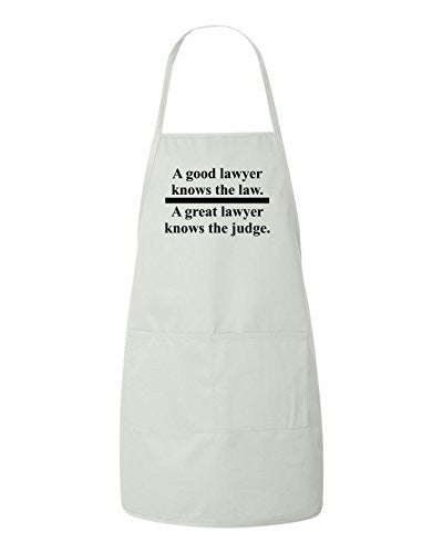 A GOOD LAWYER KNOWS THE LAW A GREAT LAWYER KNOWS THE JUDGE Funny BBQ Apron by BeeGeeTees