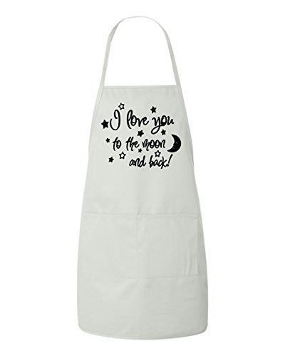I Love You To The Moon And Back Valentines Day Gift Apron by BeeGeeTees