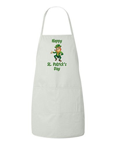 Happy St Patrick's Day Gift Apron Leprechaun by BeeGeeTees®