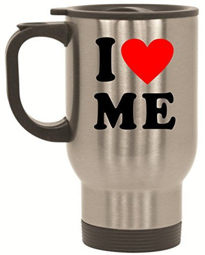 I Love Me Heart Stainless Steel Travel Mug Valentines Day Gift by BeeGeeTees® (14 oz)