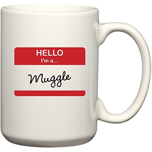 Hello I'm A Muggle - Funny Harry Potter Coffee or Tea Cup 15 oz Mug for Wizards by BeeGeeTees 01304