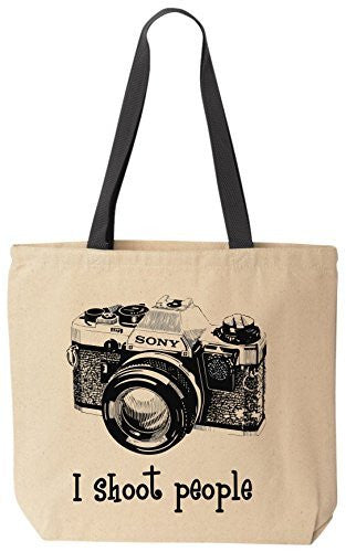 I shoot people Sony Novelty Camera Photography Funny Cotton Canvas Tote Bag BeeGeeTees