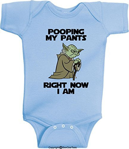 Pooping My Pants Right Now I Am Funny Star Wars Yoda Onesie by BeeGeeTees®