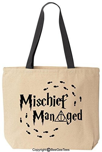 Mischief Managed Always Funny Harry Potter Reusable Canvas Tote Bag by BeeGeeTees® (Black Handle)