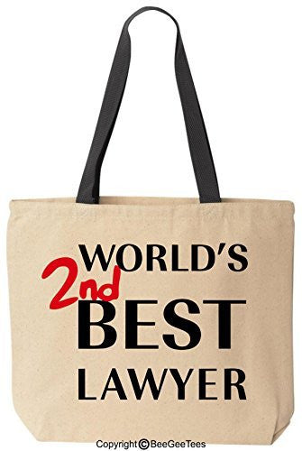 World's 2nd Best Lawyer Better Call Saul Goodman Funny Cotton Canvas Tote Breaking Bad Bag Reusable by BeeGeeTees®