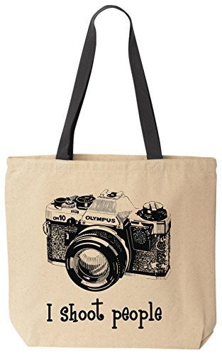 I shoot people Olympus Novelty Camera Photography Funny Cotton Canvas Tote Bag BeeGeeTees