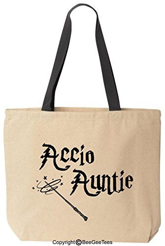 Accio Auntie Funny Harry Potter Reusable Canvas Tote Bag by BeeGeeTees® (Black Handle)