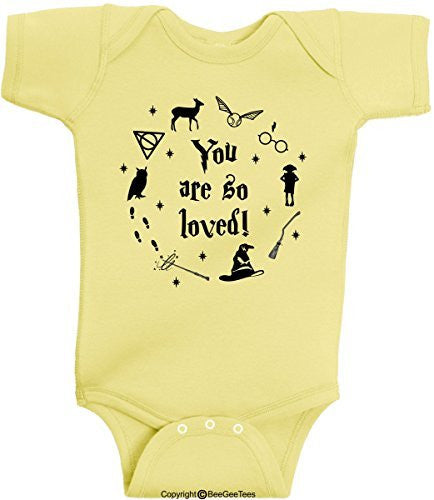 84b113767c7 Waiting On My Letter From Hogwarts Funny Harry Potter Romper Wizard Onesie  by BeeGeeTees. from   12.95 · You Are So Loved Harry Potter Baby Romper  Onesie ...