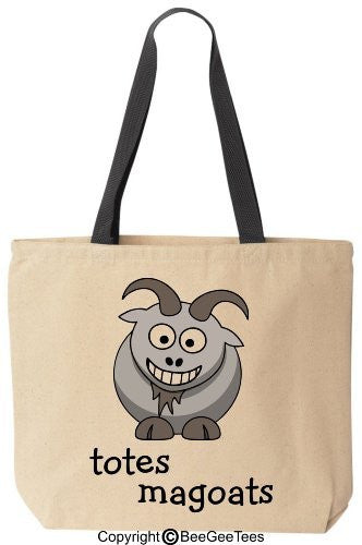 totes magoats - Funny Canvas Tote Bag Black Handle - Reusable by BeeGeeTees