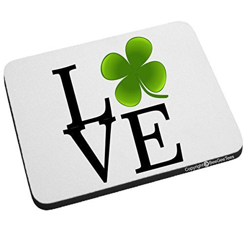Love Clover St Patrick's Day Mouse Pad Irish Leprechaun by BeeGeeTees®
