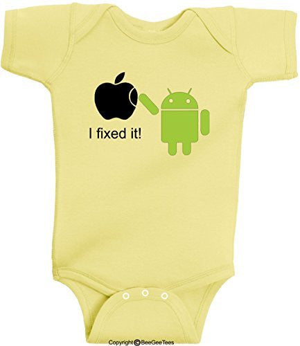 Android I Fixed It Apple Mac Funny Romper Onesie Soft Bodysuit by BeeGeeTees®