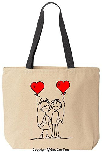 Friends In Love Tote Valentines Day Gift Reusable Canvas Bag by BeeGeeTees®