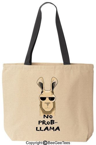 No Prob-Llama - Funny Cotton Canvas Tote Bag - Reusable by BeeGeeTees 00327