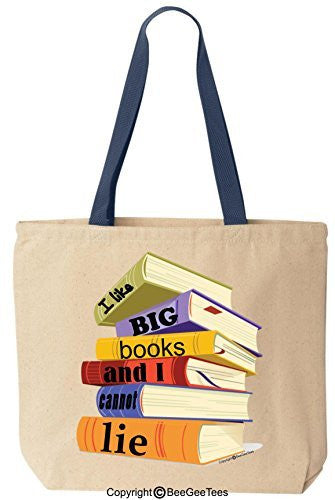 I Like Big Books And I Cannot Lie Funny Cotton Canvas Tote Bag Reusable by BeeGeeTees®