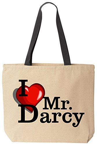 I Love Mr. Darcy - Funny Cotton Canvas Tote Bag - Reusable by BeeGeeTees