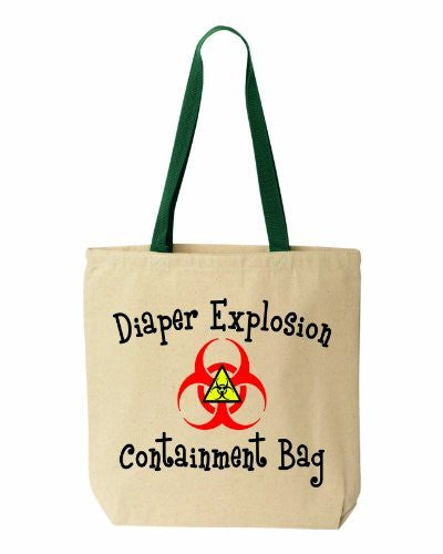 Diaper EXPLOSION Containment Bag - Funny Cotton Canvas Tote - Reusable by BeeGeeTees #00091