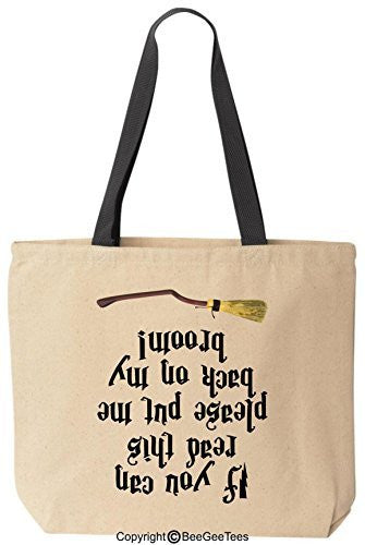 If You Can Read This Please Put Me Back Harry Potter Canvas Tote Bag by BeeGeeTees® (Black Handle)