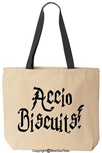 Accio Biscuits Funny Harry Potter Reusable Canvas Tote Bag by BeeGeeTees® (Black Handle)