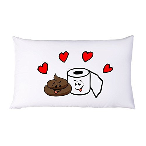 "Toilet Paper with Poop ""Best Friends"" Funny Single Pillowcase by BeeGeeTees"