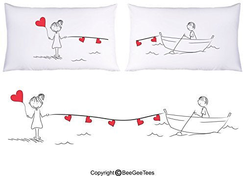 Happy Hearts Couple Pillowcases Valentines Day Gift by BeeGeeTees®