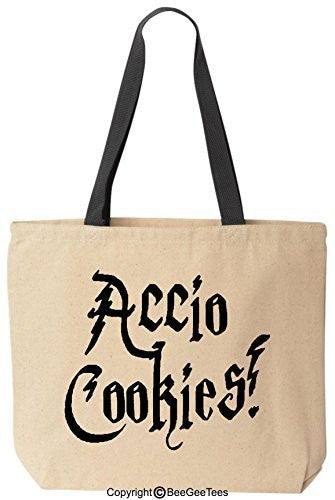 Accio Cookies Funny Harry Potter Reusable Canvas Tote Bag by BeeGeeTees® (Black Handle)