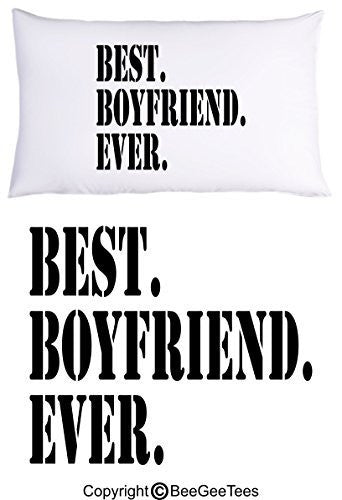 """Best Boyfriend Ever"" Pillowcase - Valentines Day Gift by BeeGeeTees® (1 Queen Pillowcase)"
