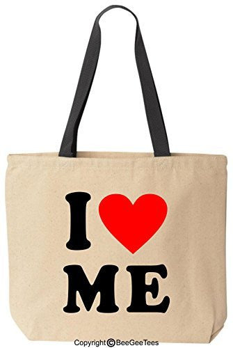 I Love Me Heart Tote Valentines Day Gift Reusable Canvas Bag by BeeGeeTees®