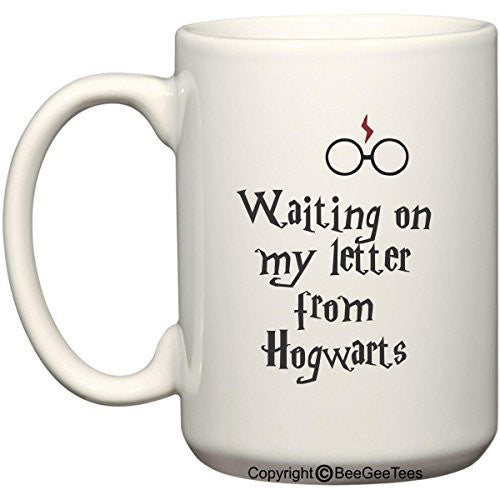 Waiting On My Letter From Hogwarts Harry Potter Coffee Mug for Wizards by BeeGeeTees