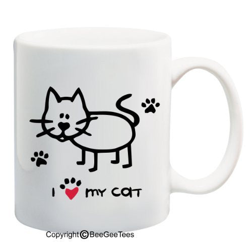 I Love My Cat - Coffee or Tea Cup 11 or 15 oz Funny Cat Lover Gift Mug by BeeGeeTees 04903