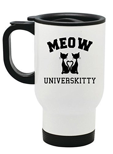 """MEOW Universkitty"" Cat Lovers Travel Mug - 14 oz Stainless Steel by BeeGeeTees®"