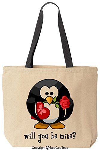 Will You Be Mine Cute Penguin Tote - Valentines Day Gift by BeeGeeTees®