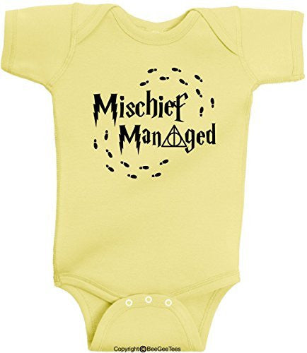 Mischief Managed Always Harry Potter Wizard Romper Funny Onesie by BeeGeeTees®