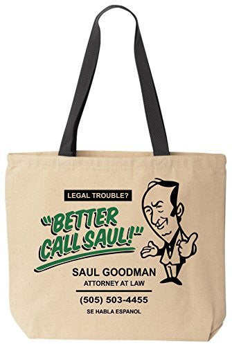 Better Call Saul Goodman Funny Lawyer Cotton Canvas Tote Breaking Bad Bag Reusable by BeeGeeTees®