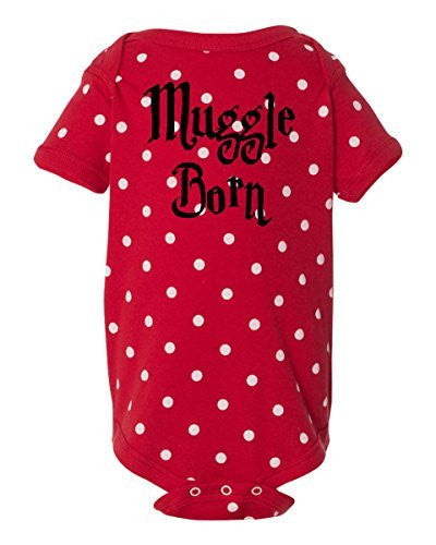 MUGGLE BORN Funny Harry Potter Wizard Onesie Red With White Dots by BeeGeeTees