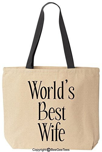 World's Best Wife Tote Valentine's Day Gift Romantic Anniversary Gift Wedding Gift Mothers Day Gift Cotton Canvas Bag