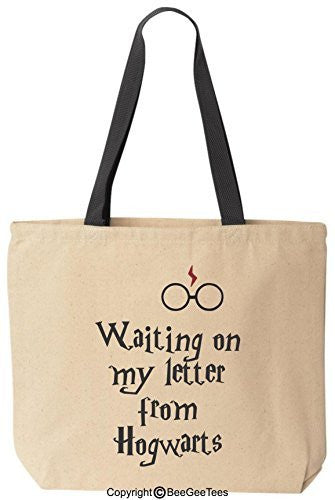 Waiting On My Letter From Hogwarts Canvas Tote Funny Harry Potter Reusable Bag by BeeGeeTees